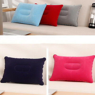 1*Outdoor Travel Folding Air Inflatable Pillow Flocking Cushion for Office Plane 5