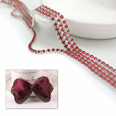 1M Crystal Rhinestone Trim Chain 2/2.5/3mm Silver Cup Close Diamante Chain Trims 9