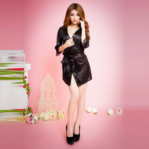 Women Sexy Lingerie Sleepwear Satin Silk Lace Robes Sleep Night Dress Skirt LG 6