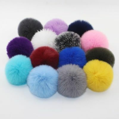 5× 6CM DIY Genuine Rabbit Fur Ball Chain Key Bag Pendants Fur Pompon Keychains 2