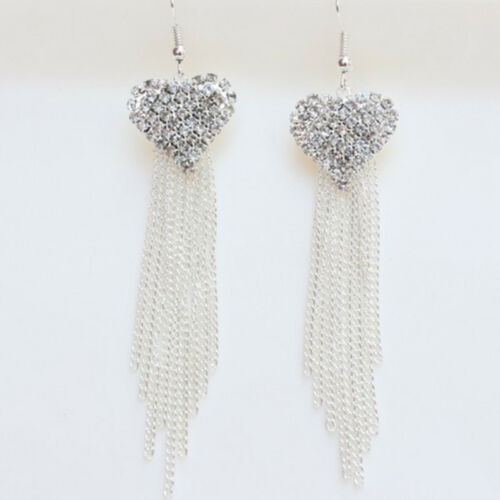 Chic Ladies Love Heart Shape Tassel Earrings Anniversary Party Jewellery one 9
