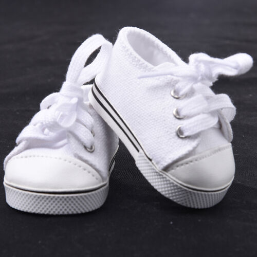 Handmade Canvas White Shoes for 18inch Doll Cute Baby Kids Toys 10