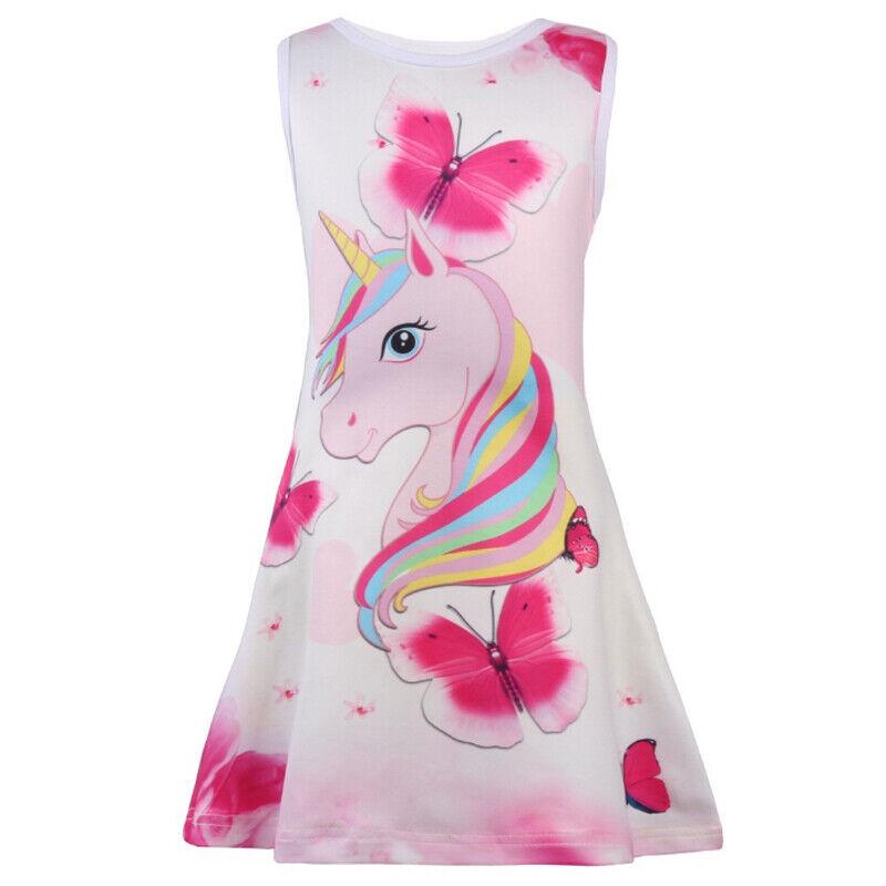 Mädchen Kinder Einhorn Sommerkleid Ärmellos Kleider Stand Freizeit Shirt Kleid