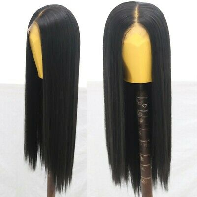 """AU 24"""" Natural Straight Synthetic Fiber Hair Handtied Off Black Lace Front Wig 5"""