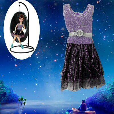 Casual Doll Clothes One Piece Patchwork Purple Glitter Short Dress For 1/6 Doll 4