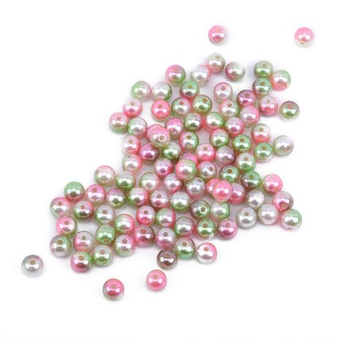 Round Imitation Plastic ABS Pearl Beads Needlework Craft Set Scrapbook Decor 6A 10
