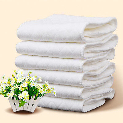 10PCS Cotton Cloth Baby Diapers Inserts Liners 3 Layers Reusable Newborn Nappy 5