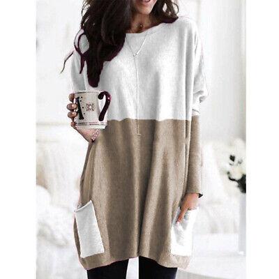 Women Long Sleeve Pocket Autumn Tunic Tops Loose Casual Blouse T-Shirt Plus Size 12