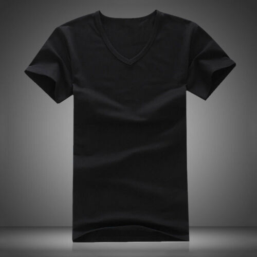 Summer Men V Neck Slim T-Shirt Tops Cotton Short Sleeve Black White 8