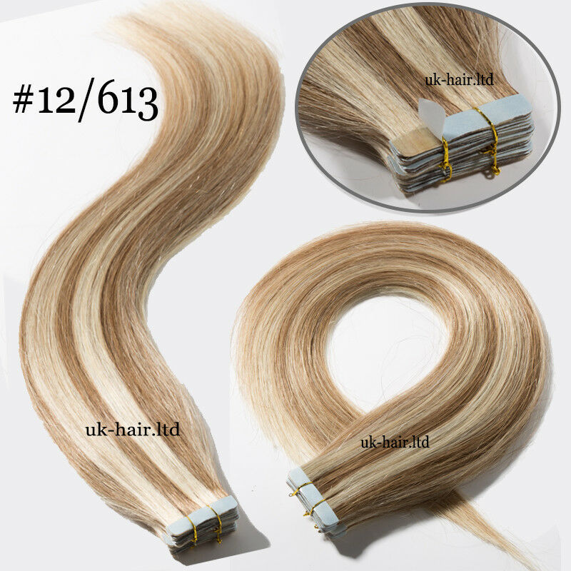 Tape In Seamless Skin Weft Real Remy Human Hair Extensions Blonde