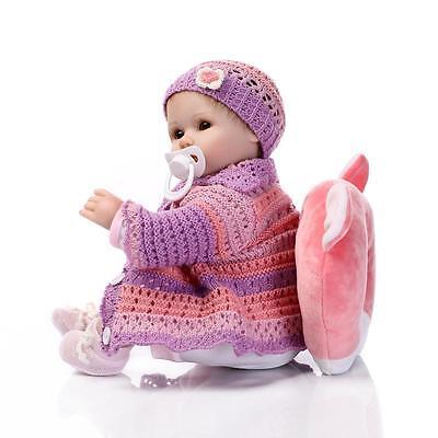 """18"""" Handmade Lifelike Reborn Doll Silicone Baby Girl Doll Vinyl Newborn Boy Doll 5"""