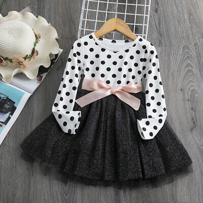 Childrens Kids Girls Long-Sleeve Polka Dot Party Birthday Tutu Skirt Dress K50