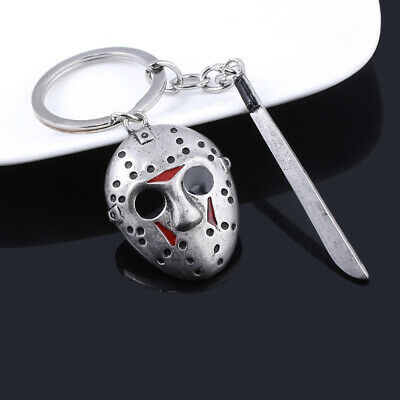 Friday the 13th Jason Voorhees Hockey Mask Kinfe Keychain Metal Keyring Jewelry 5
