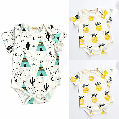 Cotton Newborn Infant Baby Boy Girls Bodysuit Romper Jumpsuit Clothes Outfits 7