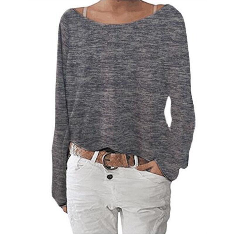 Women's Plain Long Sleeve T-Shirt Blouse Ladies Casual Loose Tops Shirts Tee UK 8