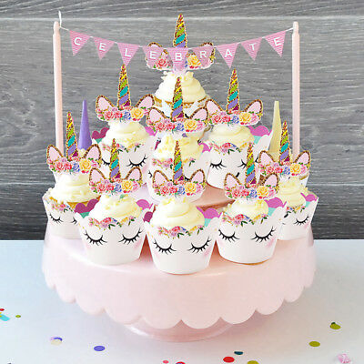 Licorne arc en ciel cupcake d coration g teau emballages gar on fille bapt me eur 2 82 - Decoration gateau bapteme fille ...