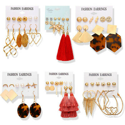 15Pairs Korean Style Earrings Set Tassel Crystal Ear Stud Dangle Hook Chic Women 7