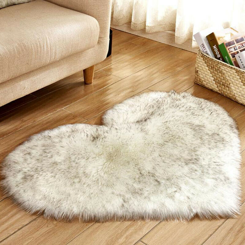 Heart Shaped Fluffy Rugs Anti-Skid Shaggy Area Rug Carpet Home Bedroom Floor Mat 4