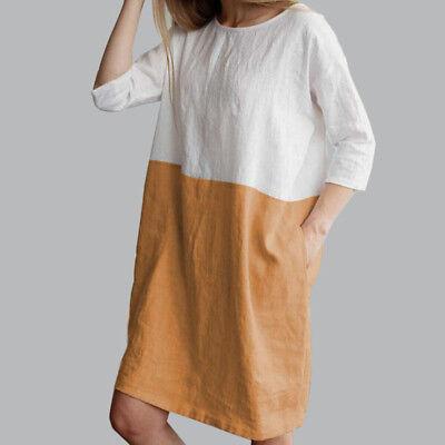 AU Baggy Womens Casual Short Sleeve Dresses Cotton Linen Ladies Tunic Tops Dress 5
