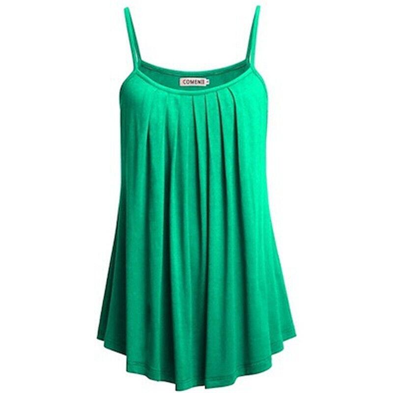 Boho Womens Ladies Cami Vest Swing Pleated Sleeveless Tank Tops Dress Size 8-24 4