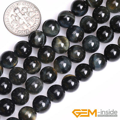 Blue Tiger's Eye Gemstone Round Loose Spacer Beads For Jewelry Making Strand 15""