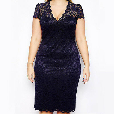 Catchy Plus Size Abito da donna in pizzo floreale aderente con collo longuette