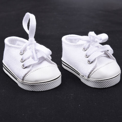 Handmade Canvas White Shoes for 18inch Doll Cute Baby Kids Toys 4