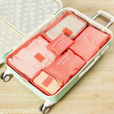 6pcs Travel Bags Waterproof Clothes Storage Luggage Organizer Pouch Packing Cube 8