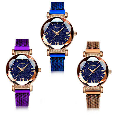 Luxury Starry Sky Watch Magnet Straps Fashion Watches Magnetic Stainless Steel 12