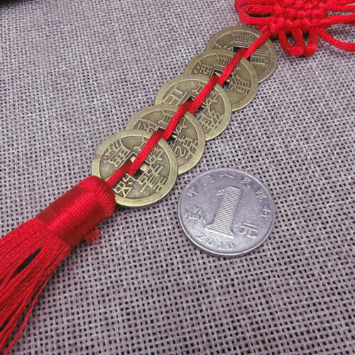 Chinese Feng Shui Protection Lucky Fortune Charm Red Tassel String Tied Coins LH 5
