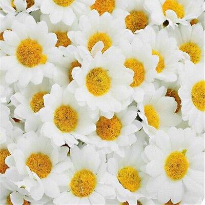100pcs Silk Artificial Gerbera Daisy Chrysanthemum Flowers Sunflower Head DIY 6