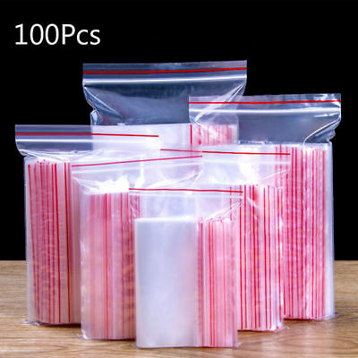 100 Grip Resealable Zip Lock Bags Self Seal Clear Plastic Poly Ziplock Bag 9Size 2
