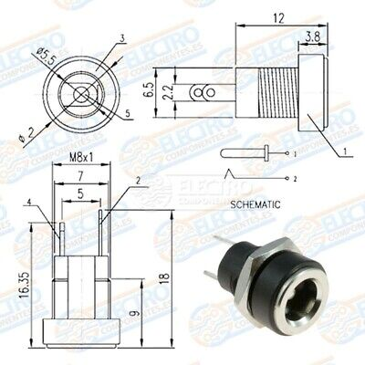 5x Conector DC Jack Hembra Chasis 5,5mm x 2,1mm tuerca alimentacion 5.5 2.1 2