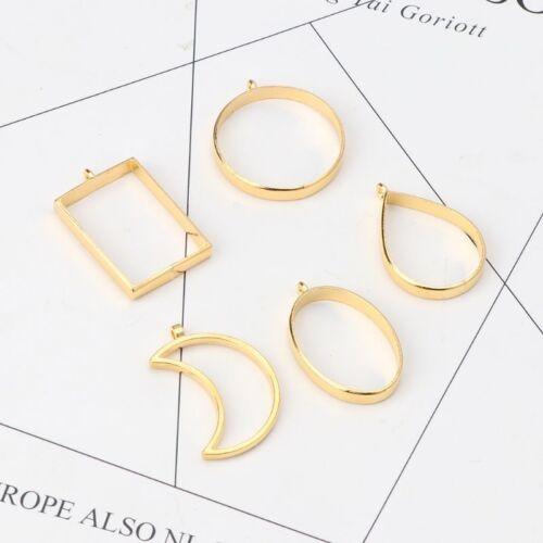 10Pcs Geometric Hollow Pressed Flower Resin Blank Frames Pendants Jewelry Making 6