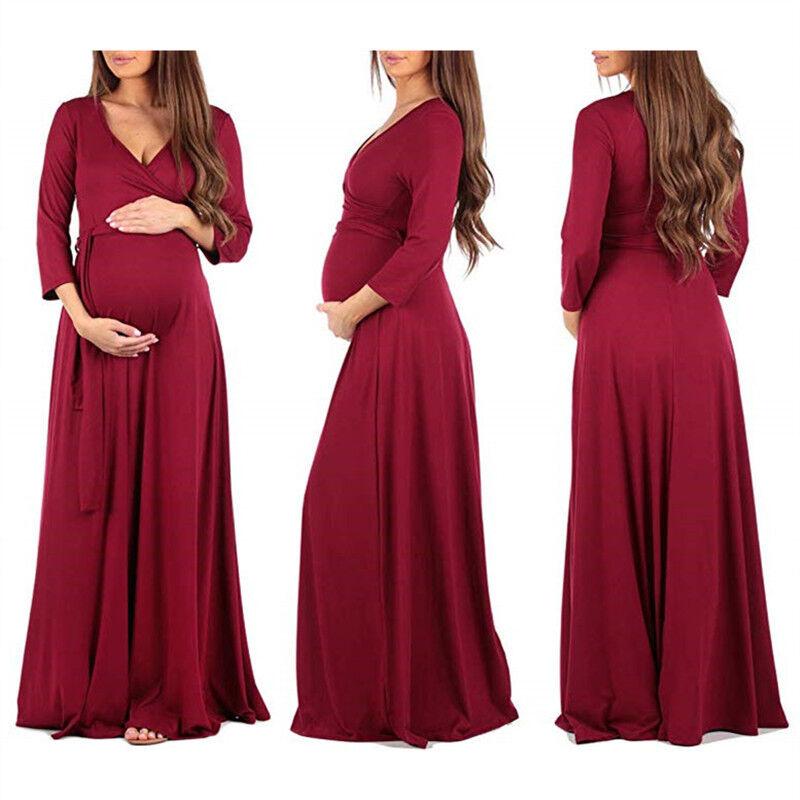 promo code 0a14b bfea1 SCHWANGERE BLUMEN UMSTANDSKLEID Schwangerschaftskleid Lang Maxikleid  Wickelkleid