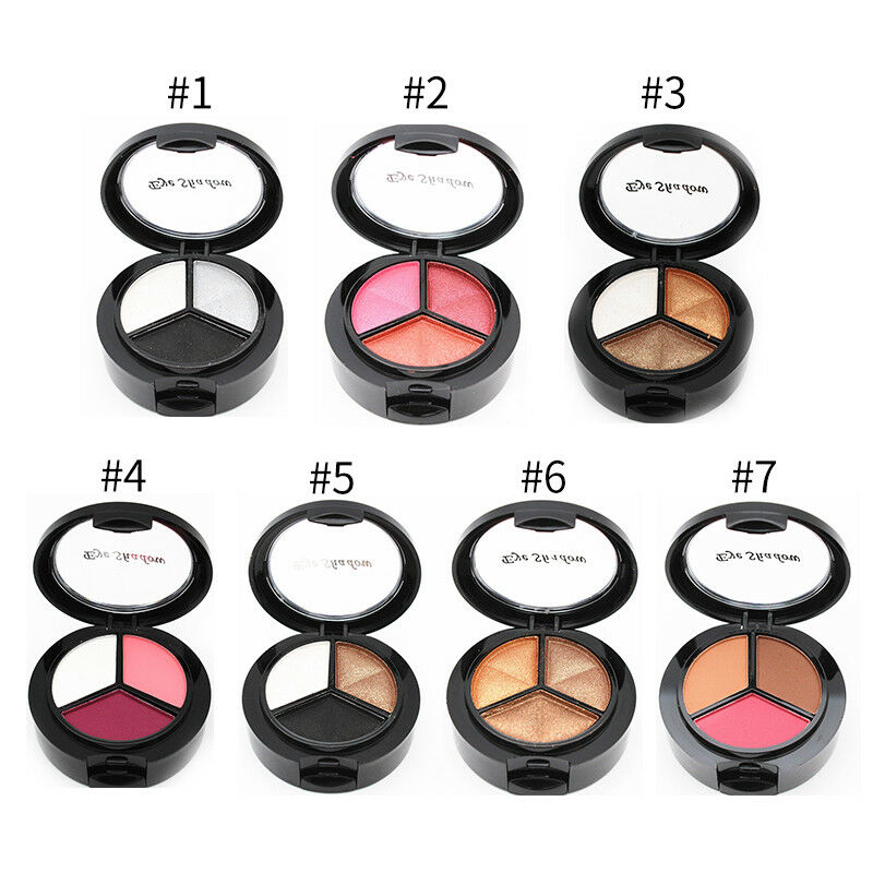 3 Colors/Box Eyeshadow Palette Highlighter Glitter Matte Eye Shadow Makeup Tools 2