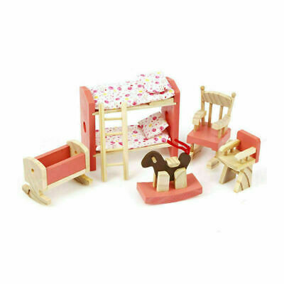 Kid Pink Wooden Furniture Dolls House Miniature 6 Room Set Doll For Gift DIY New 9