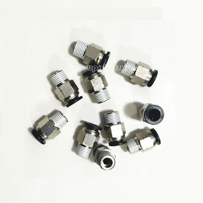 5pcs Male Straight Connector Tube OD 8MM X NPT 1/8'' Pneumatic Push In Fitting 2