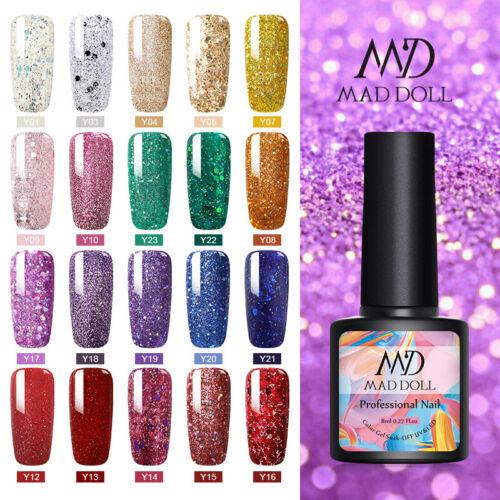 MAD DOLL 8ml Nail Glitter Sequins UV Gel Polish Soak Off Nail Art Varnish Decors 6