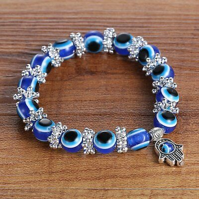 Fashion Blue Evil Eye Bead Protection Good Luck Bracelet Turkish Hand Bangle Hot 2