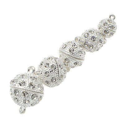5 Pcs Crystal Rhinestone Pave Round Ball Magnetic Clasp Strong Connector Closure 2