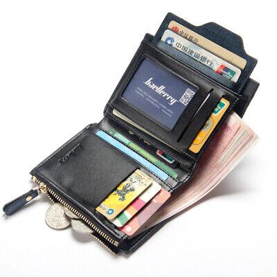 Men Leather Wallet ID Credit Card Holder Clutch Bifold Pocket Zipper Coin Purse 12