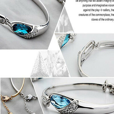 Fashion Silver Plated Crystal Chain Bracelet Women Charm Cuff Bangle New Jewelry