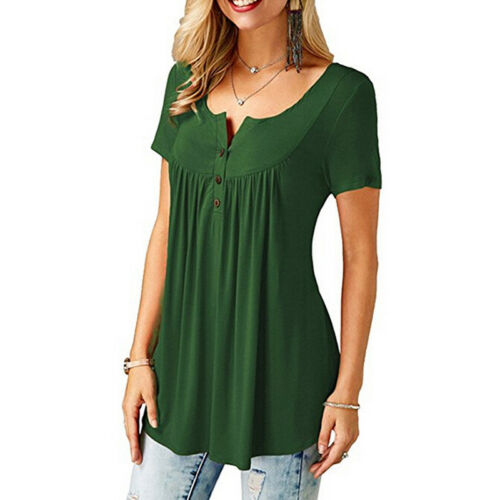Women Ladies Summer Loose Tops Short Sleeve T Shirt Blouse Casual 8-22 Plus Size 6