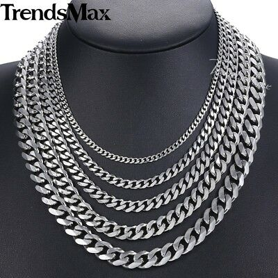Stainless Steel Necklace Bracelet Chain Silver Tone Cuban Curb Mens 3/5/7/9/11mm