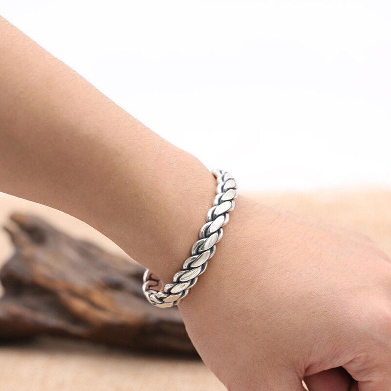 925 Sterling Silver Bangle Men Jewelry Weave Opening Bracelet viking jewelry 4