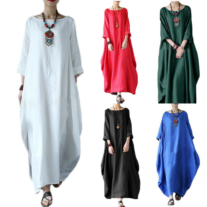 61d3798fa6e Womens Casual Long Sleeve Baggy Cotton Linen Beach Maxi Dress Kaftan Loose  Plus 2 2 of 11 ...