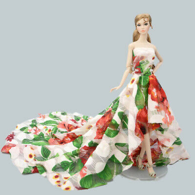 Colorful Floral High Fashion Doll Clothes for 1/6 Doll Wedding Dress Party Gown 12