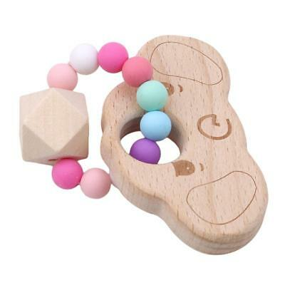 Baby Nursing Bracelet Wooden Silicone Chew Beads Teething Rattles Toy Teether HZ 9