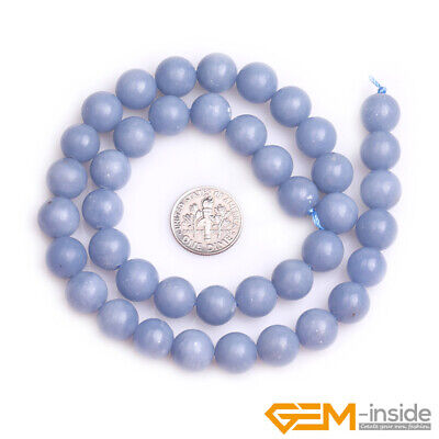 """Natural Blue Angelite Stone Round Loose Beads for Jewelry 15"""" 6mm 8mm 10mm 12mm 7"""
